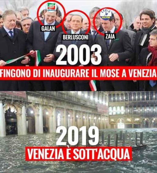 M5S: «Nel 2003 Berlusconi, Zaia e Galan fecero finta di inaugurare il MOSE. Oggi Venezia è sott'acqua»
